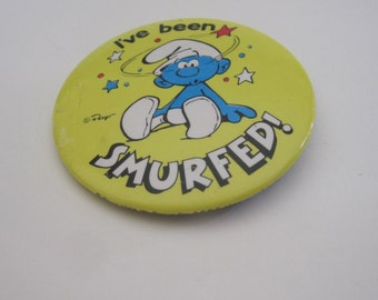 "Vintage Smurf pin,Character Smurf Pin ""I've Been Smurfed"" - 1982 - Made in USA"