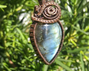 New Handcrafted Green/Blue Labradorite Pendant With Black Ribbon Necklace #Tearshape #OxcopperWire