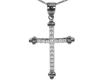 14k Black Gold Cubic Zirconia Cross Pendant