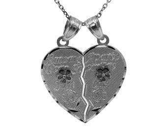 "925 Sterling Silver ""Amores Aparte Pero Siempre Juntos"" Breakable Heart Necklace"