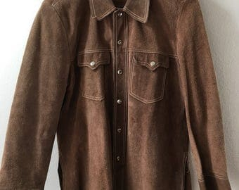 Classic Short Vintage Brown Genuine Suede Jacket With Rivets Men's Size Large.