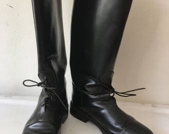 Police boots leather durable heavy boots strong & rigid leather, lacquering leather long vintage retro style men's black size - 11-11 1/2.
