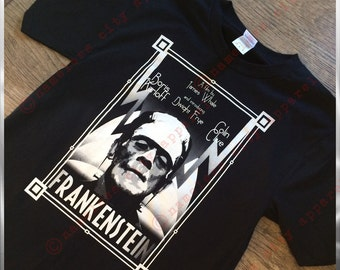 Frankenstein comes to a Nameless City Apparel t-shirt - our Art Deco take on the universal 1931 James Whale film starring Boris Karloff