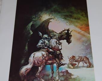 Boris Vallejo Print - The Dragon and the George - 1976