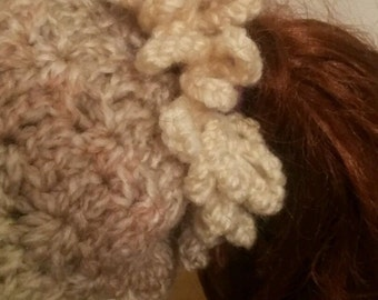 Crochet Ponytail Hat . Messy  Hair Bun Beanie