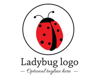 Ladybug logo - boutique logo - photography logo - baby boutique logo - premade logo - logo design - red and black