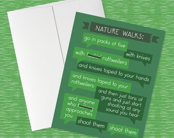 Nature Walks   My Favorite Murder Greeting Card for Murderinos! SSDGM, MFM, True Crime Podcast, nature card, funny card, murder