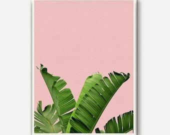 Banana Leaf Art, Tropical Printable Art, Tropical Leaves, Palm Leaf Print, Leaf Print, Palm Digital Print, Tropical Print, Tropical Wall Art