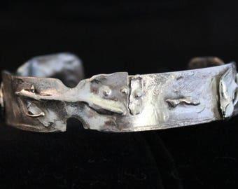 Sterling Silver Reticulated Cuff Bracelet (05212017-036)