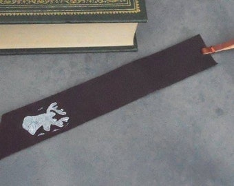 leather bookmark, bookmark, stag bookmark, stamped bookmark, black bookmark, stag accessories, stamped leather, 3rd anniversary, bookmarker