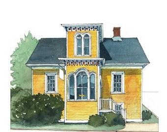 Historic yellow restaurant house - water color - Fleur De Sel Restaurant, Lunenburg, Nova Scotia