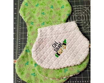 Oh Snap - embroidered matching burp cloth