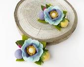 Felt flower hair clip// Woodland Garden Poppy // kikiandbee