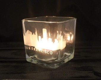 San Francisco Candle Holder - San Fran - Cali Glassware - California - Slyline - CA - City Love - State Pride