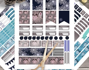 Winter Snowflake,Winter Decoration printable planner stickers for use with Erin Condren LifePlanner, Instant Download, Filofax, Plum Paper