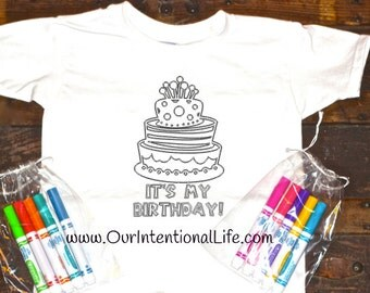 Kid's Birthday Coloring Shirt With Markers