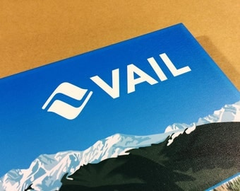 VAIL SKI MAP Gallery Wrapped Canvas Giclee