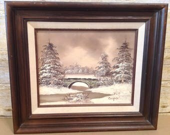 Vintage Oil Painting - Winter Scene, Snow, Stone Bridge, Fir Trees, signed by Cooper,
