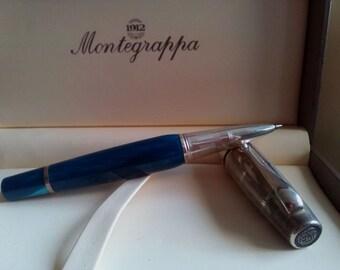 MONTEGRAPPA MIYA Midnight Blue Rollerball Pen, Montegrappa Celluloid Midnight Blua Rollerball Pen, Made in Italy, Montegrappa Rollerball Pen