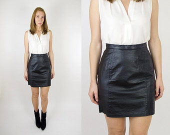 Classic High Waisted Black Leather Shirt Skirt