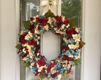 Patriotic Wreath, Hydrangea Wreath, Year Round Wreath, All Season Wreath, Red White & Blue Wreath, Hand Blended Wreath, 4th Of July Wreath