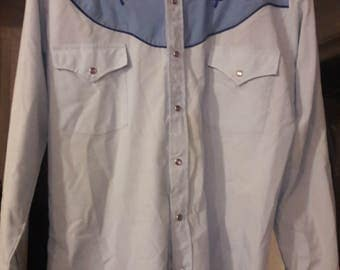 Vintage/Western/80s/Ely Diamond/pearl snap/blue floral embroiderd shirt Rockabilly/Psycobilly sz M