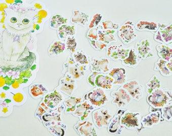 100 pcs Kitty Flower Garden Stickers, Decorative Stickers, Sticker Set - STK128