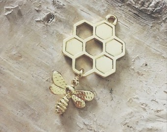 Gold Tone Detailed Bee Honeycomb Charms 46mm x 24mm | Jewelry Making Pendants | Crafts