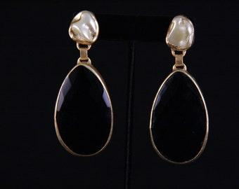 Black Onyx Baroque Drops