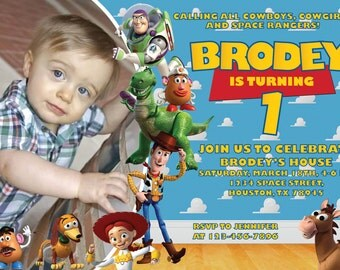 Toy Story Invitation for Birthday Party with Picture. Digital File, Print at Home.