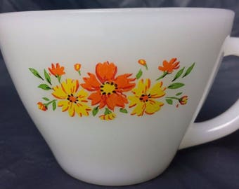 Fire King Milk Glass Anchor Hocking Orange Yellow Floral Flower Tea Cup Coffee Mug 6 oz Vintage