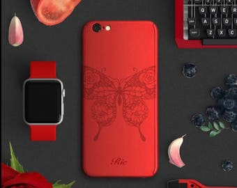 Personalized butterfly iPhone 7 plus case, full protection iPhone 7 case, iPhone 6 plus case, customise name iPhone case red women
