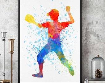 Baseball Boy Print, Watercolour Baseball Decor, Baseball Art, Sports Decor, Kids Sport Poster, Baseball Mom Gift, Boy Room Artprint (N011)