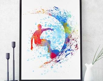 Surfer Boy, Surfer Art, Surfer Gifts, Sports Print, Surf Decor, Nautical Decor, Watercolor Prints, Surfing Man (N055)