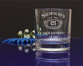 Personalised Jack Daniels engraved Whiskey glass BIRTHDAY CHRISTMAS gift 251