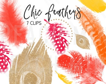Chic Feather Clip Arts | Digital Feathers | Glitter Feather Clip Art | Graphic Design | Orange Yellow Gold Fuchsia Glitter | Vector | PNG
