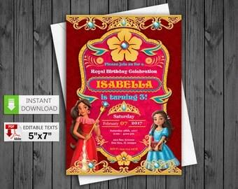 Printable invitation Princess Elena of Avalor party in PDF with Editable Texts, Princess Elena Avalor Invitation, edit and print yourself!