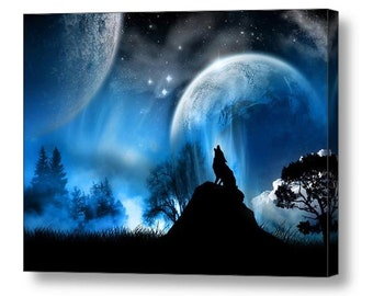 Howling wolf in Moonlight Fantasy Canvas Box Art A4, A3, A2, A1 ++