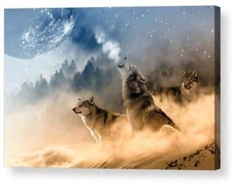 Wolf Howling at The Moon 002 Fantasy Canvas Box Art A4, A3, A2, A1 ++