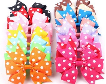 5pcs 4inch dot grosgrain ribbon infant hair bows girls hair bow boutique hair bows, tollder infant hairbows 16 dots colors to choose