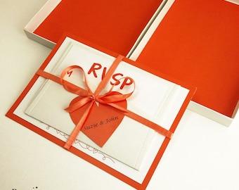 Orange Color Boxed Wedding Invitations, Color Wedding Invitations, Couture Invitations, Box Wedding Invitations, Orange Color, 1 INVITATION