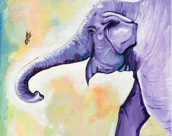 Happy Purple Elephant with Butterfly- Fine Art Print