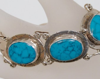 Vintage Taxco Inlaid Turquoise Sterling Bracelet, Signed