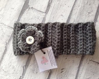 Ladies crocheted ear warmer head warmer with large flower in grey -ready to ship