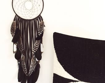 "Black Leather Dream Catcher, 8"" x 26"". Handmade. Wall hanging."