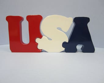 Patriotic Handmade Handpainted Wooden USA puzzle or Table accent.  4th of July or Memorial Day Red White Blue