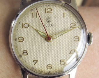 1940s Swiss Gents SS Tudor Rolex Mechanical Watch AS 1187 Professionally Serviced for Sale