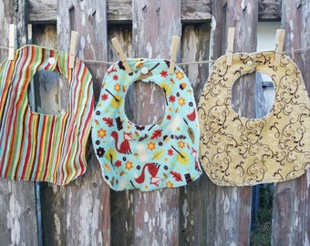 Set of Three Traditional Bibs - Woodland Theme