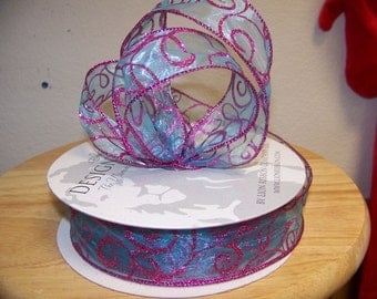1 1/2 inch Aqua and Hot Pink Craft Ribbon Wired (by the yard)