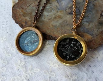 Compass Necklace, Steampunk Jewelry, Brass Compass  Necklace, Nautical Jewelry, Miniature Steampunk  Compass Necklace